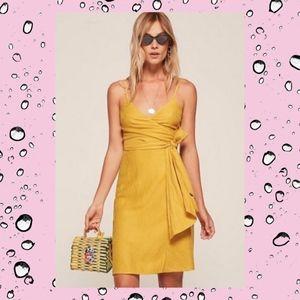 REFORMATION Lucilia Mustard Yellow Wrap Dress XS